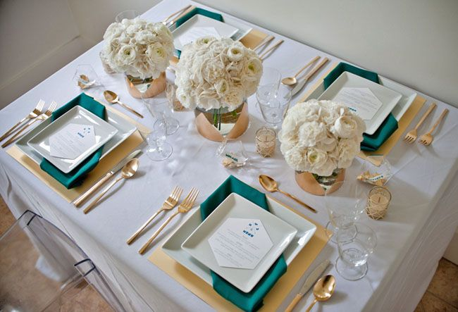 Gold + Teal Modern Table Inspiration  //  skip the flowers.  just like the place settings/napkin layout.