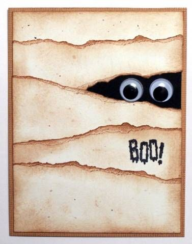 Halloween card: ripped paper and googly eyes. What a cute and easy craft!