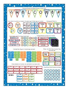 Sports Themed Classroom Pack! Love the colors and clipart!