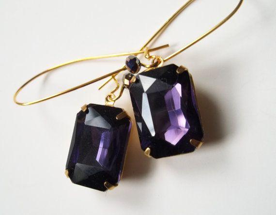 Purple Rhinestone Earrings Handmade Elegant Rhinestone Jewelry  #bestofEtsy #etsyretwt