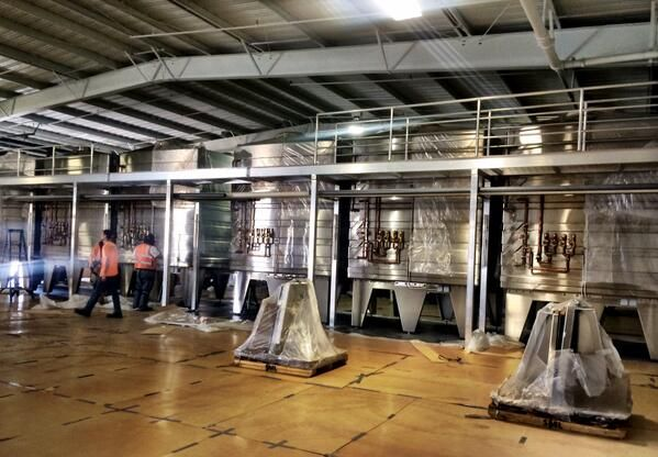 Our cubic wine tanks in Rodney Strong Vineyards's new cellar ! It's coming together quite nicely !