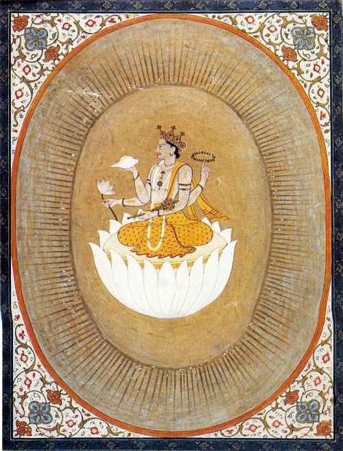 Vishnu within the Cosmic Egg Pahari style, gouache, 19th c. (via Pinterest)