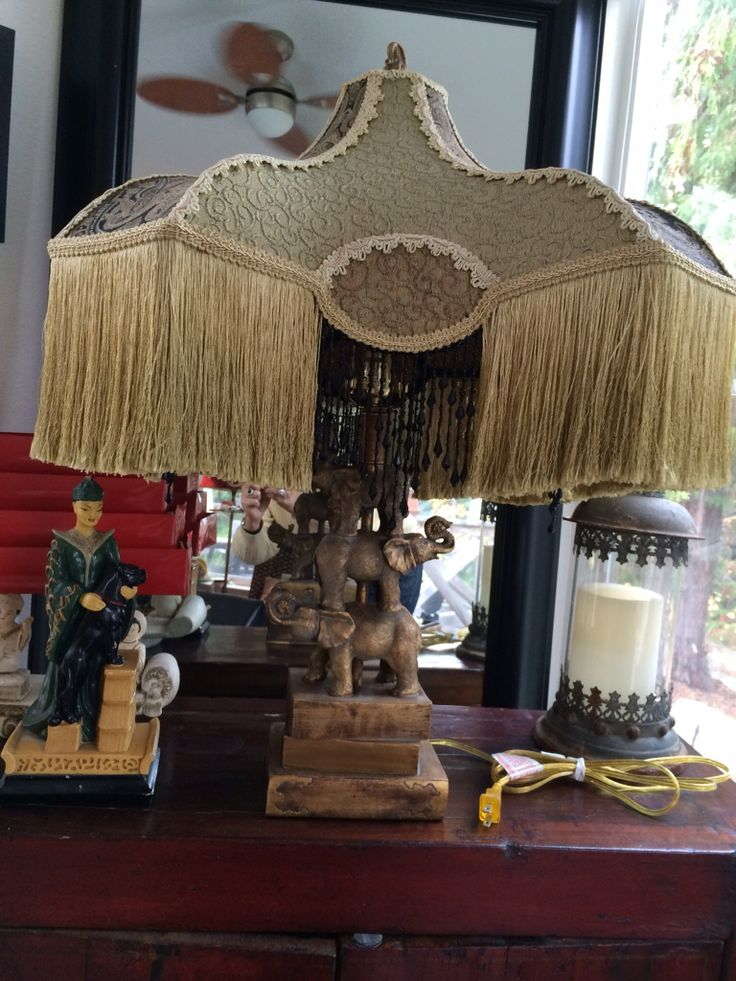 Vintage fabric dyed fringe beaded fringe three elephant lamp