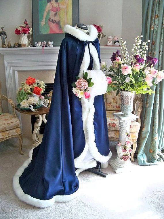 Victorian Bridal cape 73 inch Navy Blue / IVORY  Satin with Fur Trim Wedding Cloak