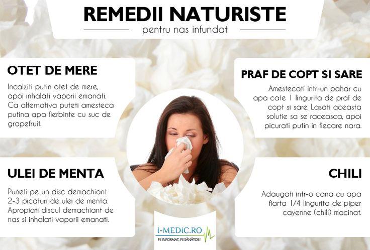 Nasul infundat este o manifestare ce cauzeaza disconfort major datorita obstructiei nazale. Contrar gandirii populare, nasul infundat nu este cauzat de cresterea consistentei mucusului, ci mai curand infectiilor tractului respirator superior - http://www.i-medic.ro/remedii/remedii-naturiste-pentru-nas-infundat