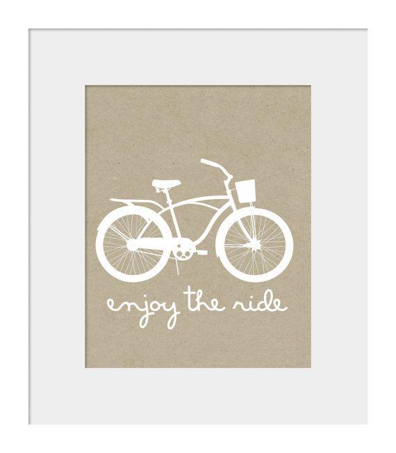 Wall Decor- Bike Print- Beach Cruiser Print - Wall Art- Enjoy the Ride - Kraft Background Digital Wall Print on Etsy, $15.00