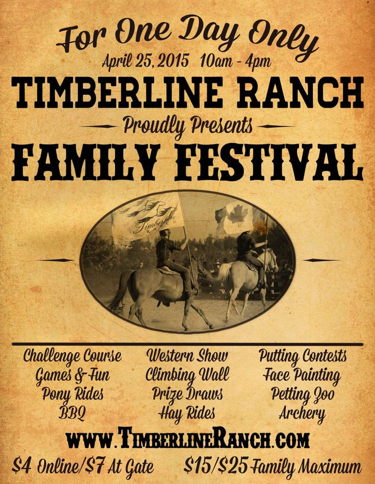 Timberline Ranch Family Festival 2015! Enter to win a Family Pass to the event April 25,2015! #giveaway #familyfun