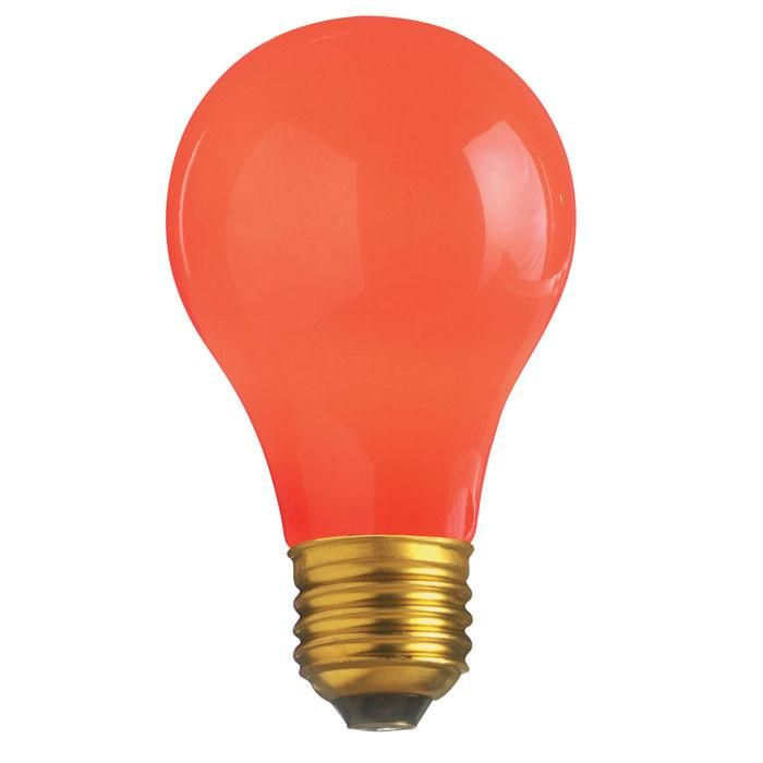 Satco S4984 60w 130v A19 Ceramic Red E26 Base Incandescent Light Bulb Incandescent Light Bulb Colored Light Bulbs Light Bulb
