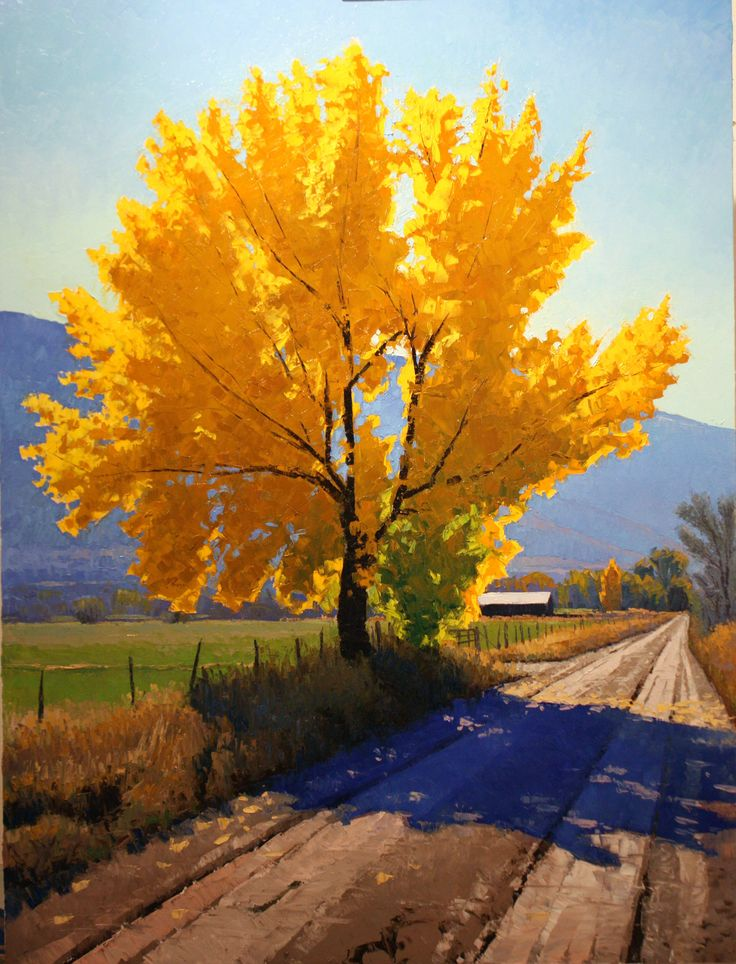 Douglas Aagard's cottonwood and maple tree paintings are perhaps his most popular subject matter. Evocative of many locales, many are surprised his landscapes are mostly made in Utah.