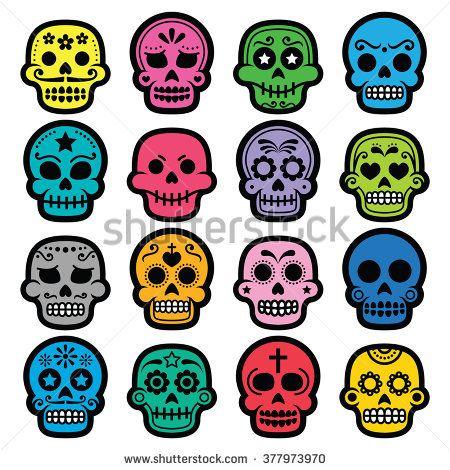 Halloween, Mexican sugar skull, Dia de los Muertos - cartoon icons #Mexico #calavera