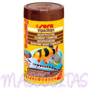 sera Vipachips. Los chips se componen de varios organismos acuáticos y se hunden rápidamente. Especialmente las espécies de Corydoras y Botia, pero también otras que nadan en el fondo, pueden ser alimentadas con estos chips equilibrados, de forma adecuada y sana