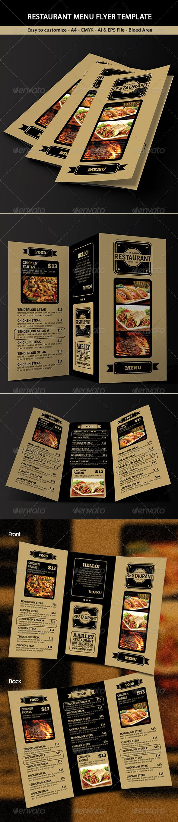 Trifold Restaurant Menu #GraphicRiver This Trifold Restaurant Menu Template can be used for Restaurant, Cafe, Coffee House, Steak House, etc File features 297×210mm A4 + 3mm Bleed CMYK Customizable Text Front & Back Vector AI & EPS File Font used : .dafont /antipasto.font .dafont /chunkfive-ex.font .dafont /old-sans-black.font *Product images are not included Thanks! Created: 29 November 13 Graphics Files Included: Vector EPS #AI Illustrator Layered: Yes Minimum Adobe CS Version: CS4 Print…
