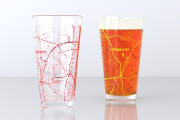 College Park, MD - University of Maryland - College Town Map Pint Glass Set