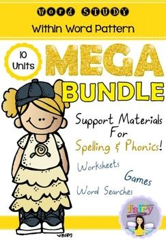 Save yourself a year of prep with this mega bundle! These extension activities are useful for supporting students who are working on the within word pattern spelling stage of the Words Their Way program.