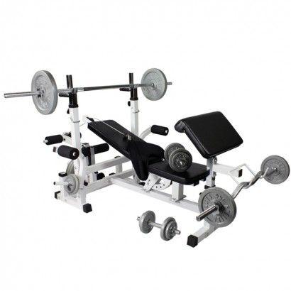 Universele halterbank met 108 kg halterset gietijzer #halterbank #halterbanken #fitnessapparatuur