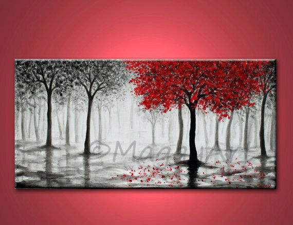 peinture abstraite acrylique, art pariétal, original, arbre rouge, pluie, Forêt brumeuse, toile noir blanc et rouge, 30 x 15 pouces, décoration de la maison bureau faite pour commander
