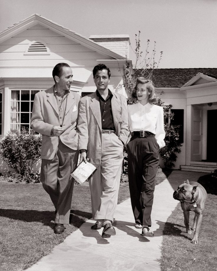 Humphrey Bogart and His Wife Lauren Bacall with John Derek in Hollywood  #WITCHERYSTYLE
