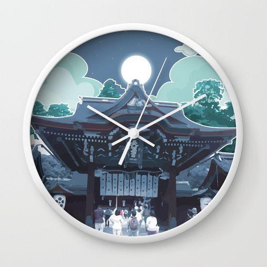 Night in Japan on https://society6.com/product/night-in-japan-3c4_wall-clock #society6 #japanes #clocks #blue #digitalart #temple