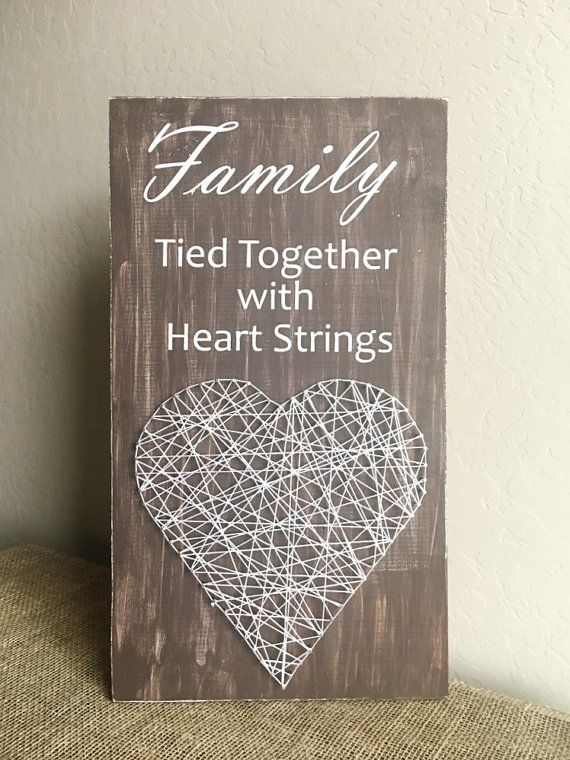DIY Kit - Heart String Art - Family Sign - Tied Together with Heart Strings - Create your own - Wood Sign - String Art- Wood Display - Kit
