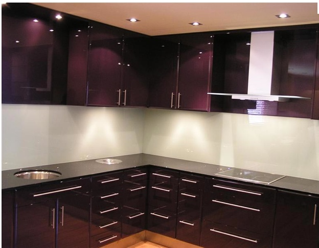 Dark Purple Kitchen Kitchen Backsplash Glass Room