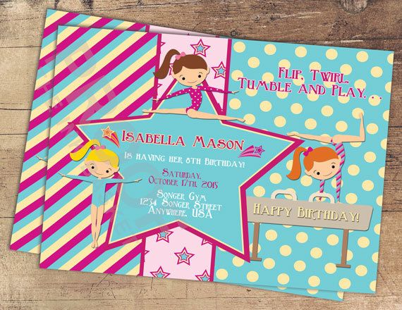 Gymnastic Birthday Invitation, Tumbler Invitation, Girls Gymnastic Birthday Invitation, Dance   You have the following options of purchase. You are sure to find an option just right for you! If you need something different or have any questions please feel free to send me a message. I am happy to help in anyway I can.   DIGITAL FILE SETS  DIGITAL FILE 1 - $12.00 This includes a Digital File of the 5x7 Invitation Only. When purchasing this option please include all the information you need on…