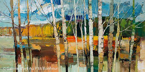 Iosif Derecichei, 'Behind the Aspen Trees', 30'' x 60''   Galerie d'art - Au P'tit Bonheur - Art Gallery