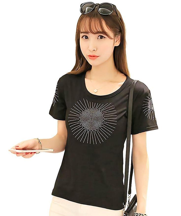Amazon | ( マゴット ) Maggot キラキラ ビジュー 半袖Tシャツ レディース きれいめ 4サイズ (ホワイト S サイズ ) | Tシャツ・カットソー 通販
