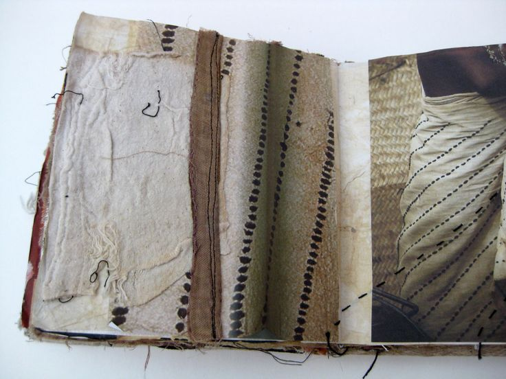 Mandy Patullo This sketchbook was made in response to research on ethnic and tribal textiles. Each double page spread uses surface decoration techniques to respond to patterns and textures in the textiles.