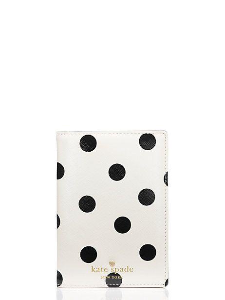 cedar street dot passport holder, clotted cream/black