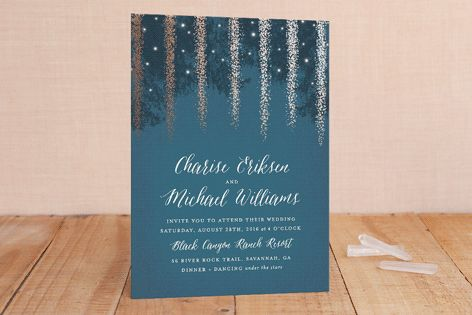 Strands Of Lights Foil-Pressed Wedding Invitations by Hooray Creative at minted.com