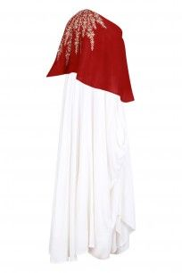 Red Embroidered One Shoulder Top with White Cowl Skirt