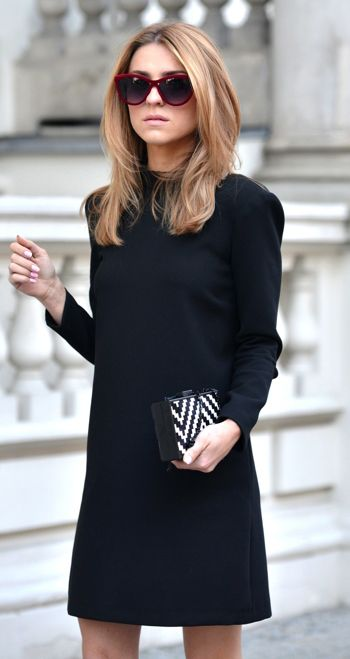 Summer to Fall 2014. The perfect LBD & clutch from Zara with ASOS sunnies. Fantastic & always chic from Katarzyna Tusk! ::M::
