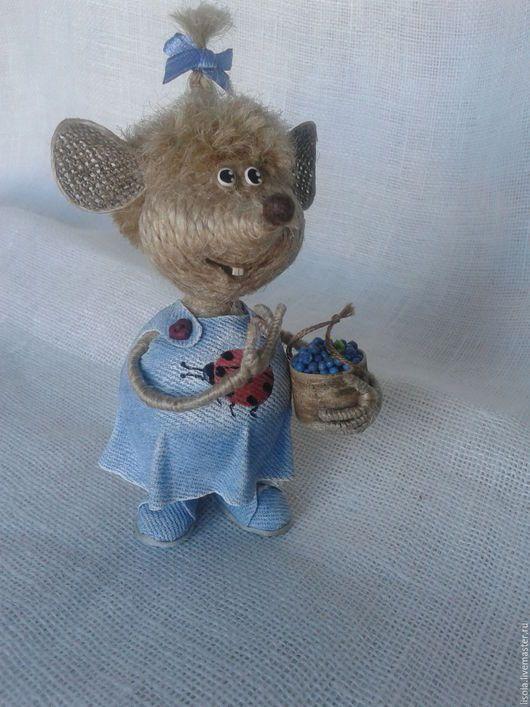 Игрушки животные, ручной работы. Ярмарка Мастеров - ручная работа. Купить Черничная Мышь для Юли. Handmade. Серый, мышка из джута