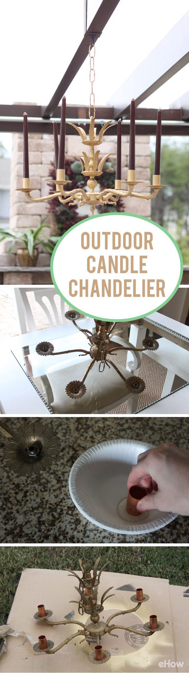 Completely transform and upgrade your backyard space with an outdoor candle chandelier.  Imagine the soft glow of the candles adding a cozy and intimate setting while your entertain guests or want to watch the stars in the night sky.. DIY instructions here: http://www.ehow.com/how_12342943_make-outdoor-candle-chandelier.html?utm_source=pinterest.com&utm_medium=referral&utm_content=freestyle&utm_campaign=fanpage