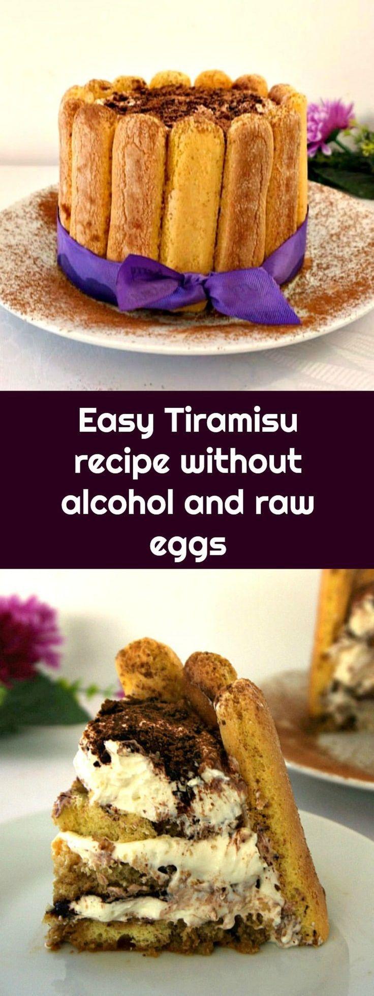 Easy Tiramisu recipe without alcohol and raw eggs, my take on the famous Italian dessert, just a little less naughty. #tiramisu , #tiramisucake , #nobakedessert , #italiandessert