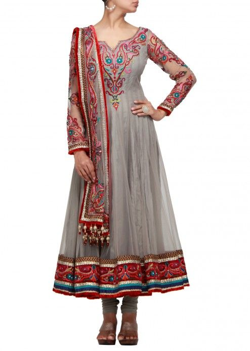 Grey anarkali dress with resham thread work