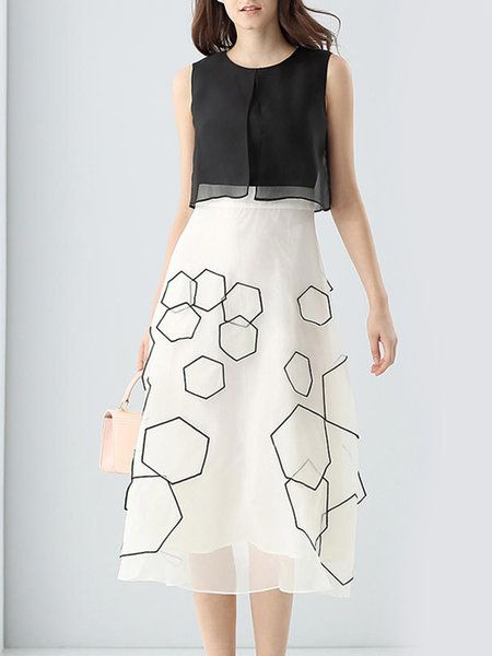 Shop Midi Dresses - White A-line Paneled Geometric Sleeveless Midi Dress online. Discover unique designers fashion at StyleWe.com.