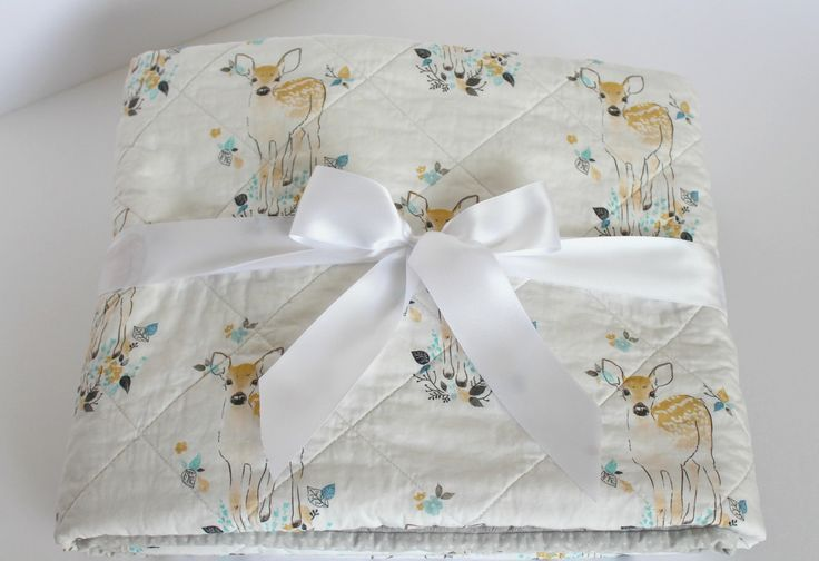 Baby Quilts Handmade~ Forest Nursery Quilt~  Fawn Baby Blanket~ Baby Quilt~ Fawn Nursery~Homemade Quilts~ Enchanted Forest Bedding by LittlebCottonShoppe on Etsy