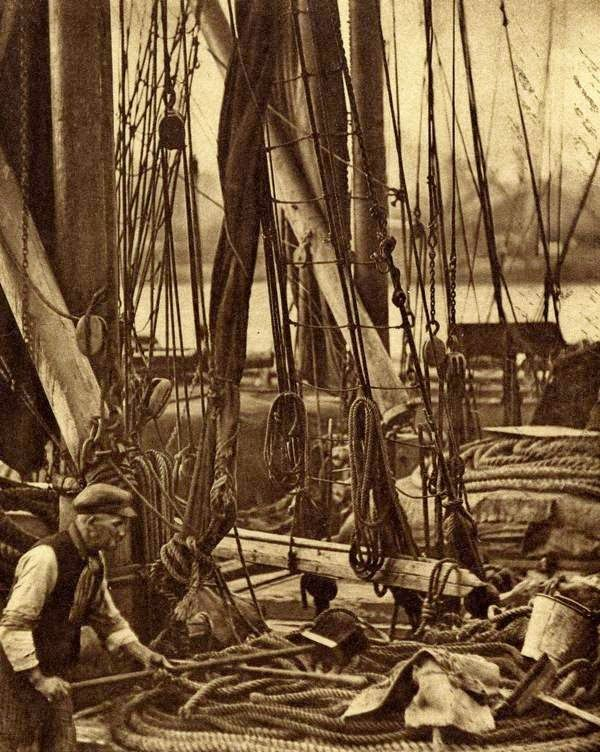 On the deck of a Thames Sailing Barge by Walter Benington | vintage everyday: Old London in the Nineteen-Twenties