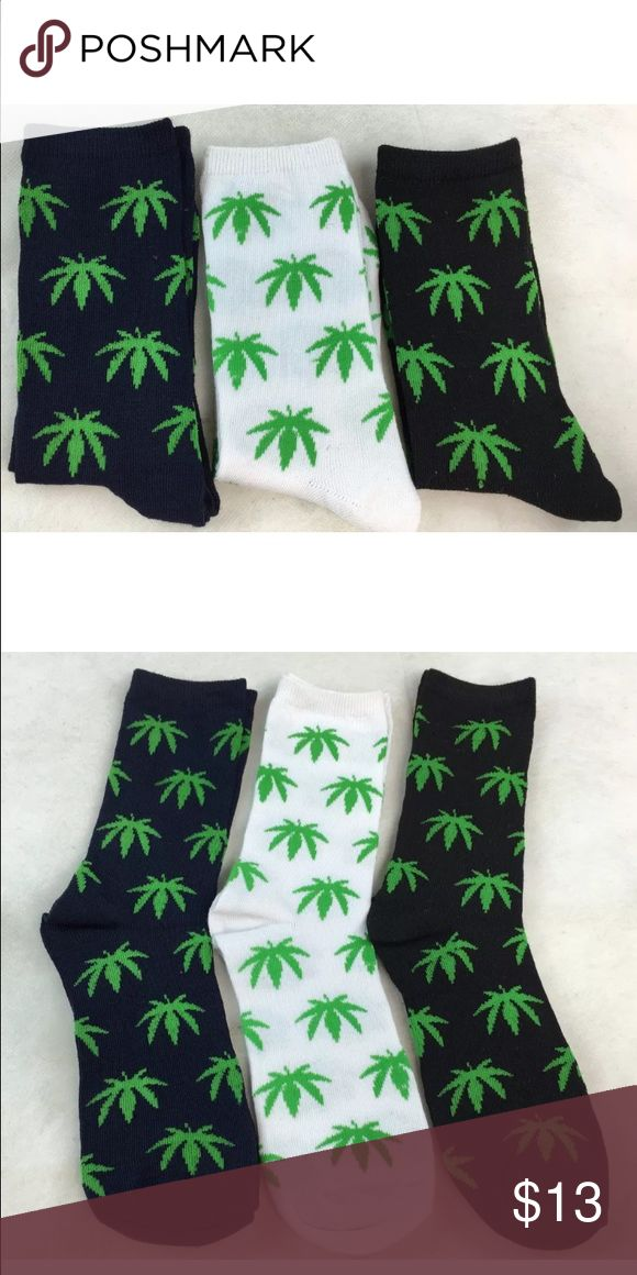 NWT 3 pairs of marijuana socks This is a set of 3 pairs of marijuana socks- navy blue, white, and black. Perfect for any weed lovers! Still in the package. Underwear & Socks Dress Socks