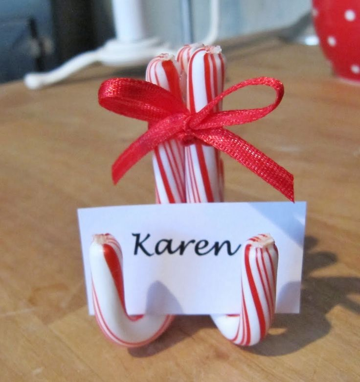 Candy cane place card holders- genius.