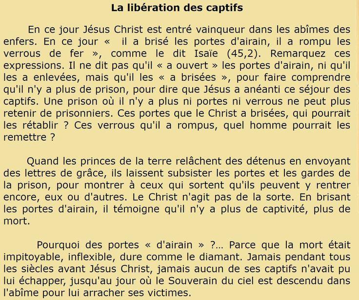 Saint Jean Chrysostome (v. 345-407), prêtre à Antioche puis évêque de Constantinople, docteur de l'Église   Homélie sur le mot 'cimetière' et sur la croix  La libération des captifs