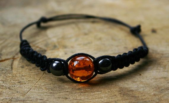 Amber and Hematite Bracelet Handmade Affordable by TriouZ on Etsy, £5.79