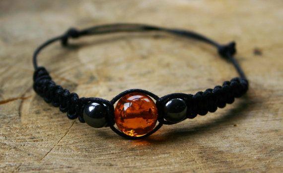 Amber and Hematite Bracelet Handmade Affordable Adjustable