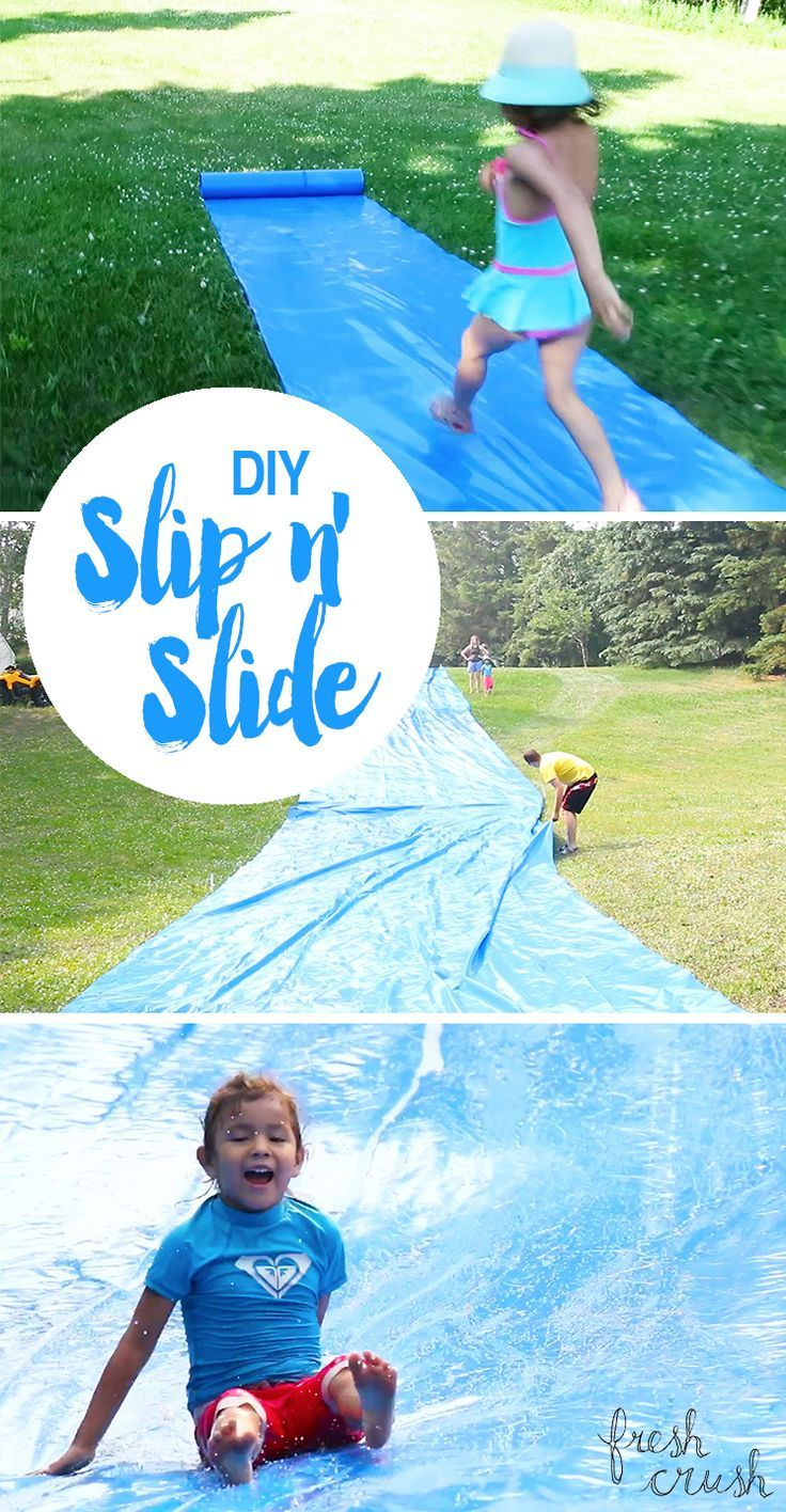 Watch the video! Have some good old fashioned Summer fun with the family with this DIY slip-n-slide -- Just a few simple steps to a whole lotta slip and slide action!                                                                                                                                                      More