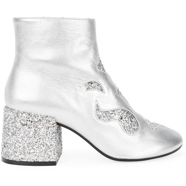 MM6 by Maison Margiela Silver glittered leather ankle boots (10,405 MXN) ❤ liked on Polyvore featuring shoes, boots, ankle booties, silver ankle boots, high heel booties, leather bootie, high heel ankle boots and ankle boots