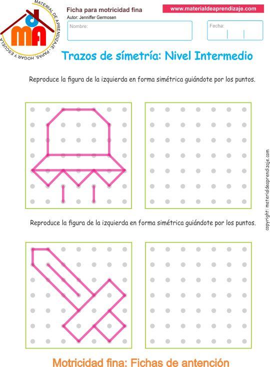 Ejercicio 09 nivel intermedio: Actividades escolares de trazos de simetría para…