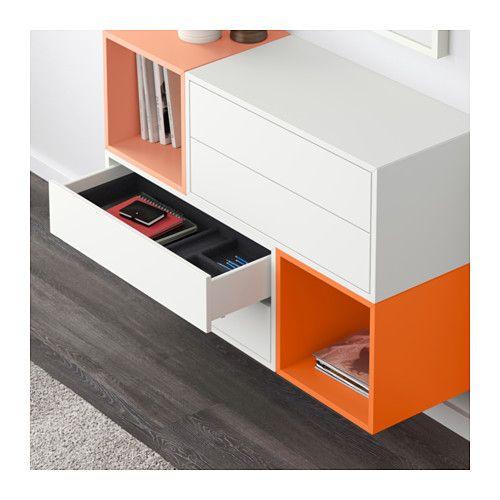 EKET Schrankkombination für Wandmontage - weiß/orange/hellorange - IKEA