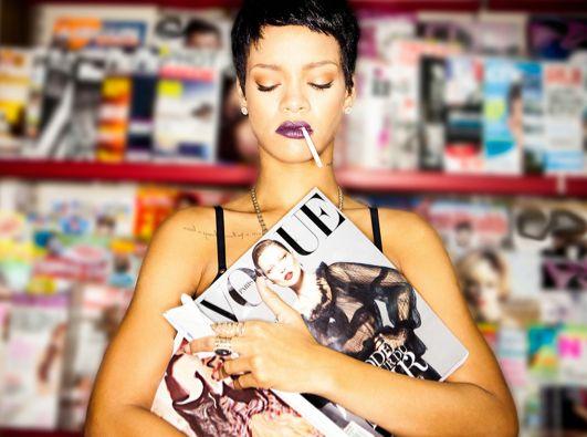 Rihanna pixie cut + lipstick