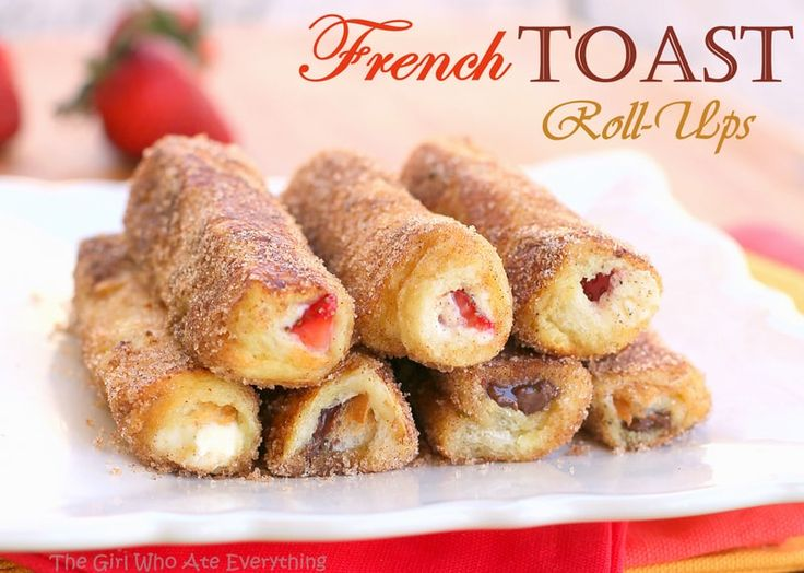 French Toast Roll-Ups - cream cheese, fruit, or whatever fillings you like rolled up in cinnamon sugar bread. the-girl-who-ate-everything.com